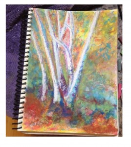 Annie Haynes, ASL Interpreter and artist, Birch Trees painting