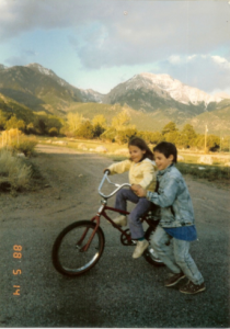 Eliza, Rocky Mountains, bike lesson with brother, May 1988