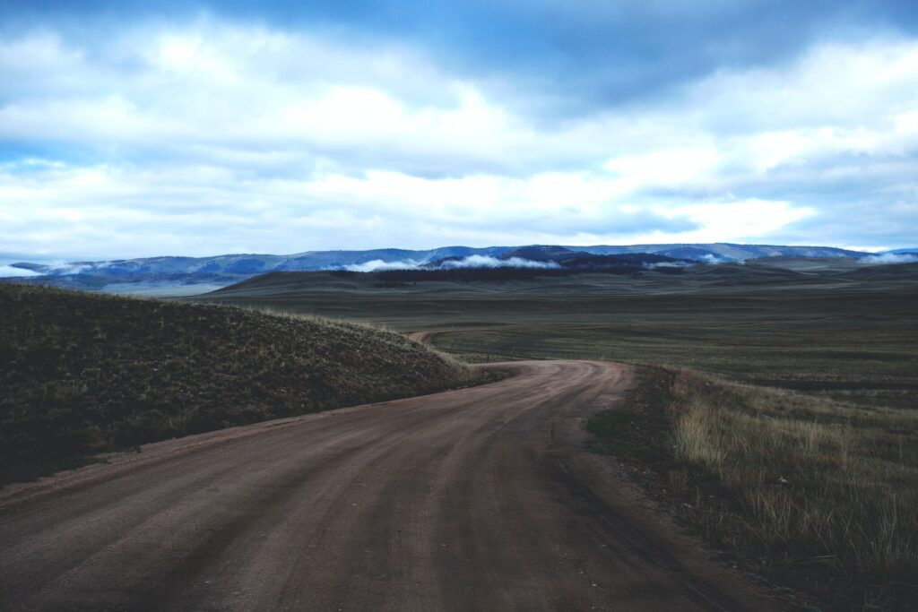 brown dirt road winding off into the distance with green grass on either sides and mountain range in the distance with white clouds in a blue sky Tag: january 2021 interpreter self care