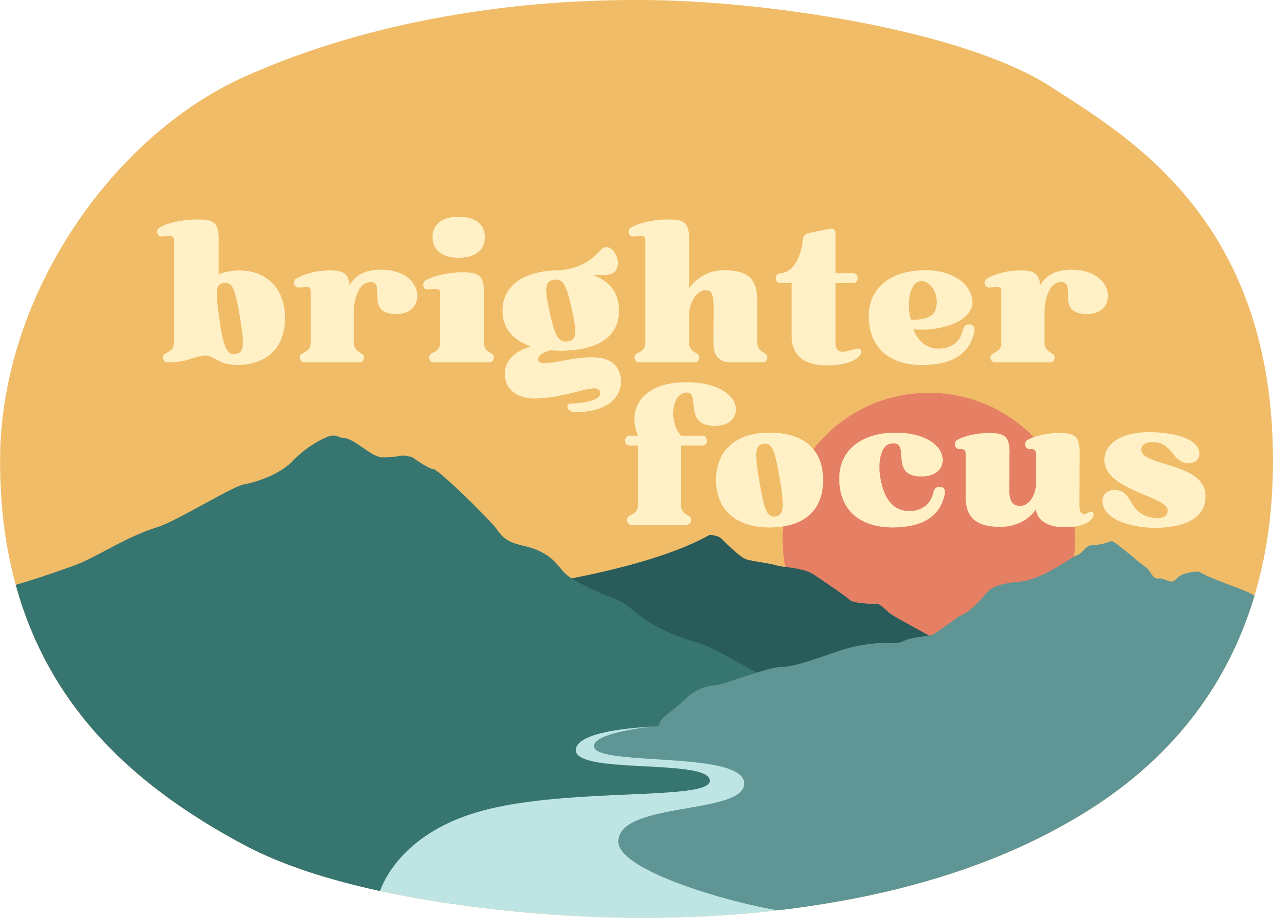brighter focus yellow background with green mountains, blue river, and orange sun. tag: february 2021 self-care