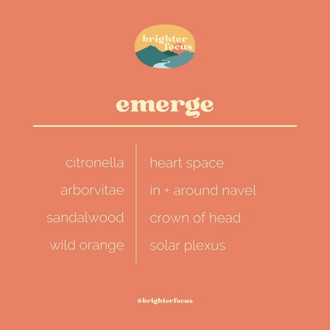 orange background. brighter focus logo. text: emerge oil protocol. citronella - heart space. arborvitae - in + around navel. sandalwood - crown of head. wild orange - solar plexus. @brighterfocus
