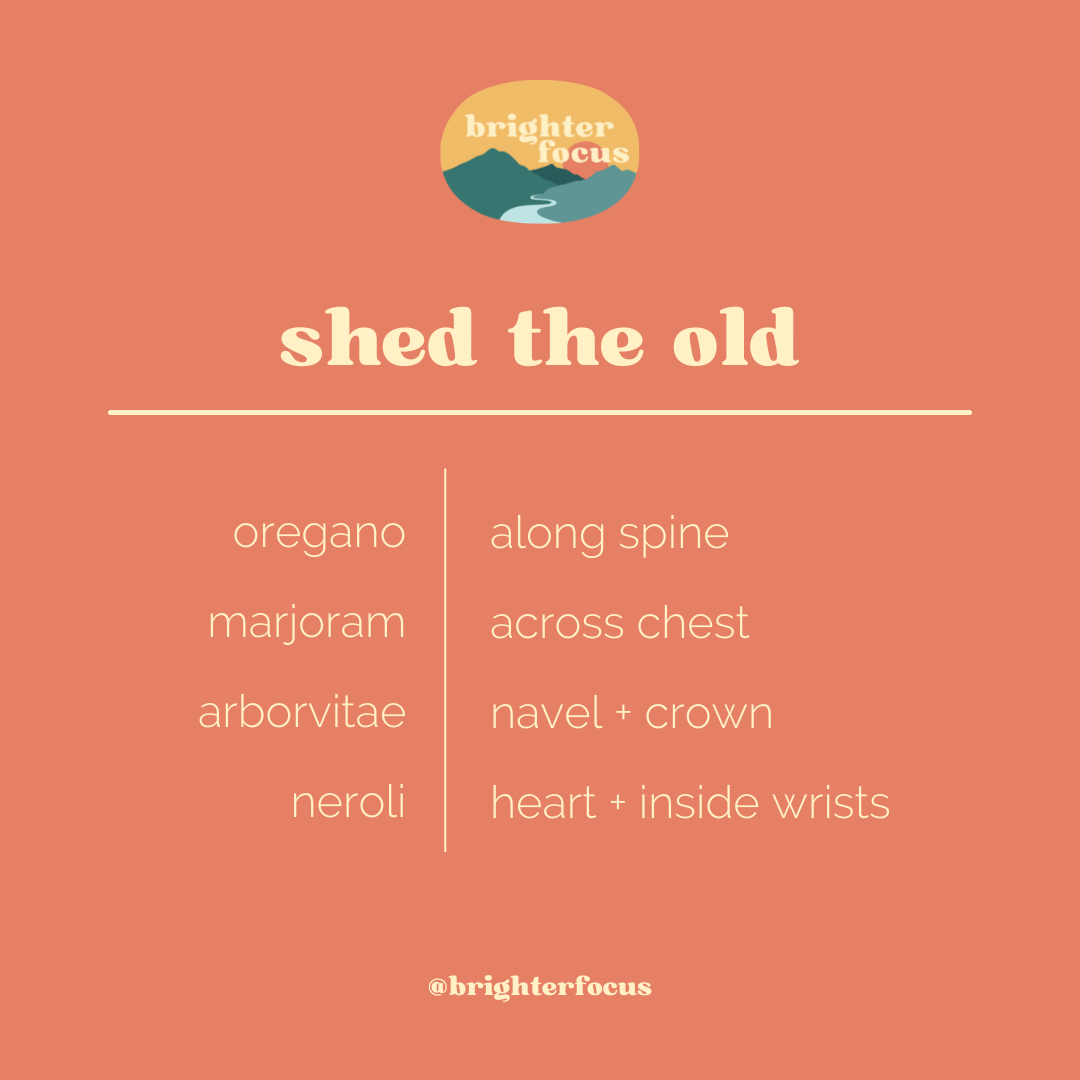 orange background. brighter focus logo. text reads: shed the old. oregano | along spine. marjoram | across chest. arborvitae | navel + crown. neroli | heart + inside wrists. @brighterfocus Tag: may 2021 self-care