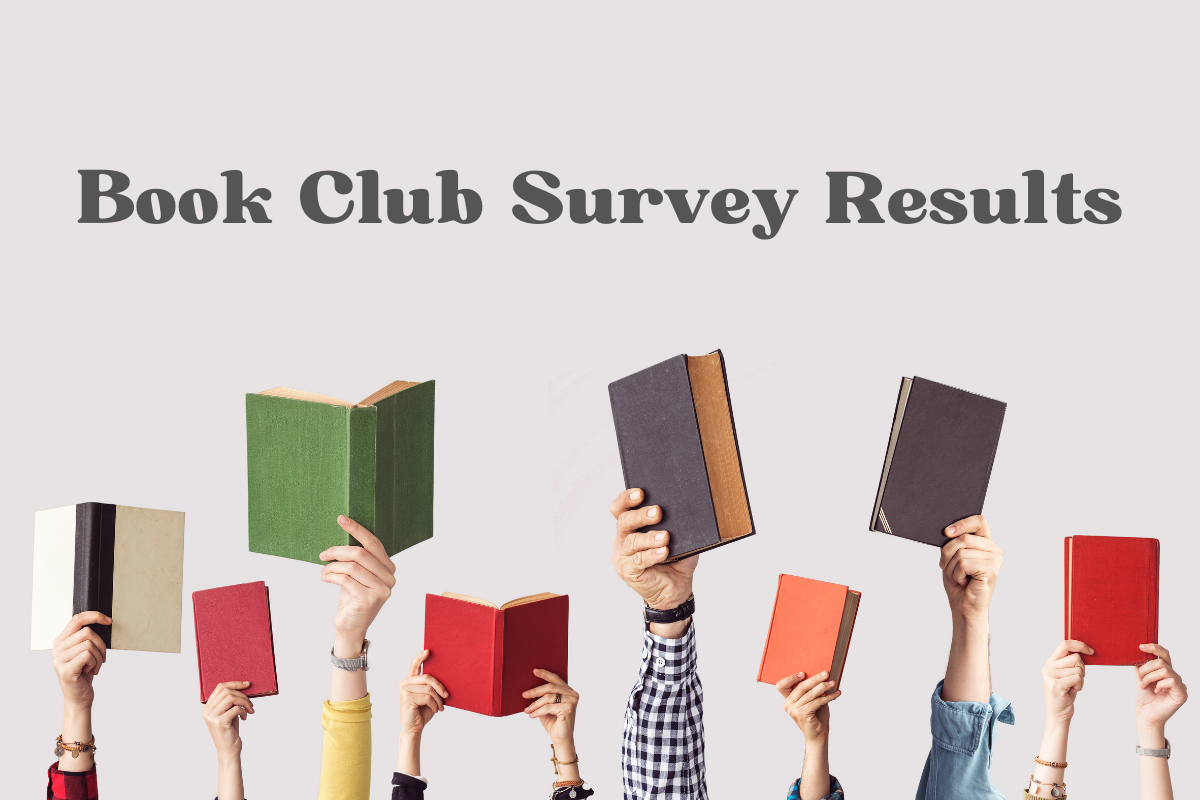 Text reads: Book Club Survey Results. Image: Arms reaching up holding books. Tag: july 2021 self-care