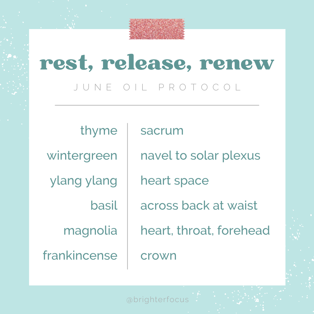 light blue background with a white box, rest, release, renew june oil protocol thyme sacrum, wintergreen navel to solar plexis, ylang ylang heart space, basil across back at waist, magnolia heart, throat forehead, frankincense, crown, tag: summer self-care